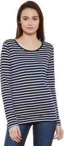 Miss Chase Casual Full Sleeve Striped Women's Multicolor Top
