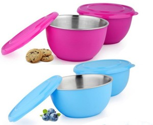 Sayee Pink & Blue Round Stainless Steel Bowl Stainless Steel Bowl Set