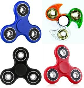 Lata Set of 04 Fidget Spinner Tricolor,Blue,Red & Black