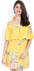 Forever 21 Women A Line Yellow Dress
