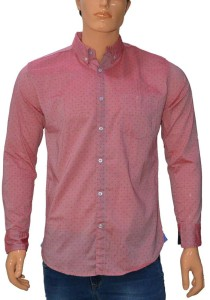 360 Degree Men's Polka Print Casual Red Shirt