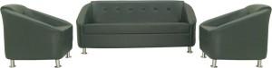 FURNITECH SEATING SYSTEMS (I) PVT LTD Leatherette 3 + 1 + 1 Black Sofa Set