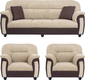 Bharat Lifestyle New Sagittarius Fabric 3 1 1 Cream Brown Sofa Set