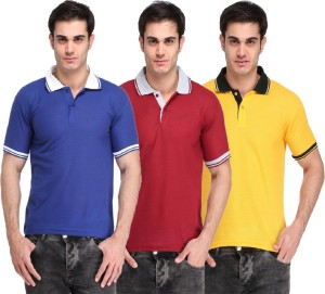 Lime Solid Men's Polo Neck Blue, Maroon, Yellow T-Shirt