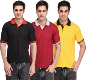 Lime Solid Men's Polo Neck Black, Maroon, Yellow T-Shirt