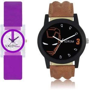LOREM WAT-W06-0004-W07-0007-COMBOLOREMBlack::White Designer Stylish Shape Best Offer Combo Couple Watch  - For Men & Women