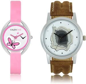 LOREM WAT-W06-0009-W07-0003-COMBOLOREMWhite::White Designer Stylish Shape Best Offer Combo Couple Watch  - For Men & Women