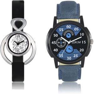 LOREM WAT-W06-0002-W07-0011-COMBOLOREMBlack::Blue::White Designer Stylish Shape Best Offer Combo Couple Watch  - For Men & Women