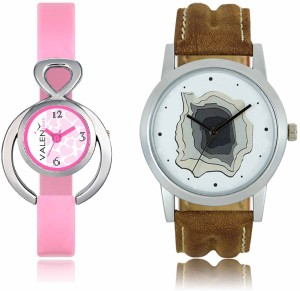 LOREM WAT-W06-0009-W07-0013-COMBOLOREMWhite::White Designer Stylish Shape Best Offer Combo Couple Watch  - For Men & Women