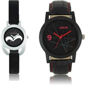 LOREM WAT-W06-0008-W07-0016-COMBOLOREMBlack::Black Designer Stylish Shape Best Offer Combo Couple Watch  - For Men & Women