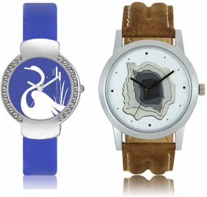 LOREM WAT-W06-0009-W07-0023-COMBOLOREMWhite::Blue Designer Stylish Shape Best Offer Combo Couple Watch  - For Men & Women