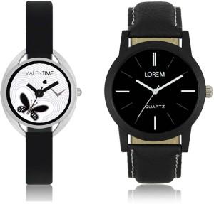 LOREM WAT-W06-0005-W07-0001-COMBOLOREMBlack::White Designer Stylish Shape Best Offer Combo Couple Watch  - For Men & Women