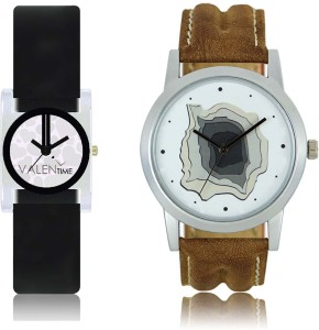 LOREM WAT-W06-0009-W07-0006-COMBOLOREMWhite::White Designer Stylish Shape Best Offer Combo Couple Watch  - For Men & Women