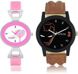 LOREM WAT-W06-0004-W07-0030-COMBOLOREMBlack::White Designer Stylish Shape Best Offer Combo Couple Watch  - For Men & Women