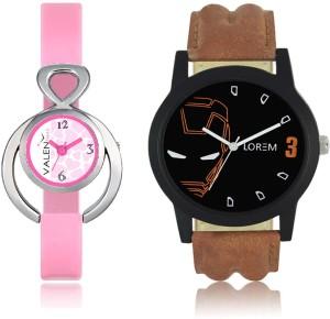 LOREM WAT-W06-0004-W07-0013-COMBOLOREMBlack::White Designer Stylish Shape Best Offer Combo Couple Watch  - For Men & Women