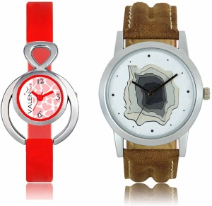 LOREM WAT-W06-0009-W07-0014-COMBOLOREMWhite::White Designer Stylish Shape Best Offer Combo Couple Watch  - For Men & Women