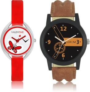 LOREM WAT-W06-0001-W07-0004-COMBOLOREMBlack::Brown::White Designer Stylish Shape Best Offer Combo Couple Watch  - For Men & Women