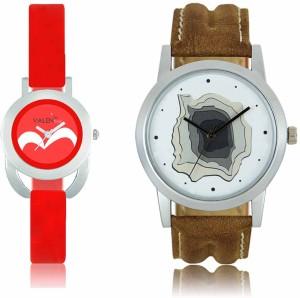 LOREM WAT-W06-0009-W07-0019-COMBOLOREMWhite::Red Designer Stylish Shape Best Offer Combo Couple Watch  - For Men & Women
