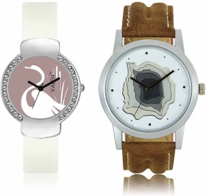 LOREM WAT-W06-0009-W07-0026-COMBOLOREMWhite::White Designer Stylish Shape Best Offer Combo Couple Watch  - For Men & Women