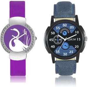 LOREM WAT-W06-0002-W07-0022-COMBOLOREMBlack::Blue::Purple Designer Stylish Shape Best Offer Combo Couple Watch  - For Men & Women