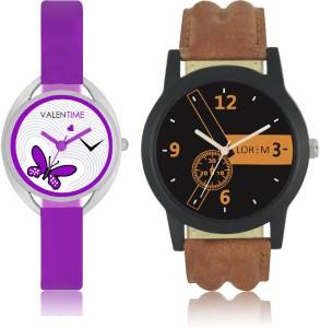 LOREM WAT-W06-0001-W07-0002-COMBOLOREMBlack::Brown::White Designer Stylish Shape Best Offer Combo Couple Watch  - For Men & Women