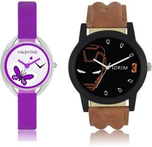 LOREM WAT-W06-0004-W07-0002-COMBOLOREMBlack::White Designer Stylish Shape Best Offer Combo Couple Watch  - For Men & Women