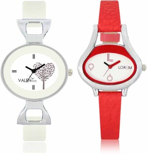 LOREM WAT-W06-0206-W07-0032-COMBOLOREMWhite::White Designer Stylish Shape Best Offer Combo Beautiful Watch  - For Women