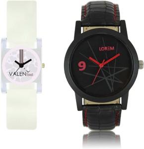 LOREM WAT-W06-0008-W07-0010-COMBOLOREMBlack::White Designer Stylish Shape Best Offer Combo Couple Watch  - For Men & Women