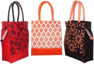 Foonty pack of 3 multipurpose bags/jute Lunch Bag