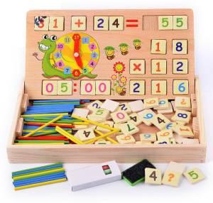 Emob 2 in 1 Multi Functional Educational Wooden Digital Computing Learning Blocks Box Set For Kid's