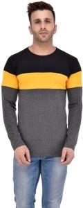 Fashion On Sky Striped Men Round Neck Yellow, Grey, Black T-Shirt