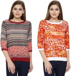 Alfa Fashion Casual 3/4th Sleeve Printed Women Multicolor Top