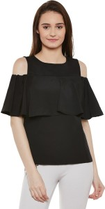 Miss Chase Casual Puff Sleeve Solid Women's Black Top