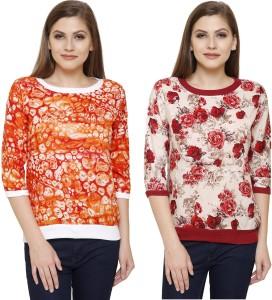 Alfa Fashion Casual 3/4th Sleeve Printed Women's Multicolor Top