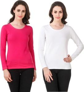 Clo Clu Solid Women Round Neck White, Pink T-Shirt