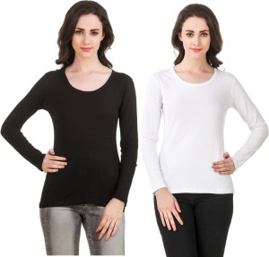 Clo Clu Solid Women Round Neck White, Black T-Shirt