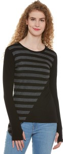 Hypernation Striped Women Round Neck Black, Grey T-Shirt