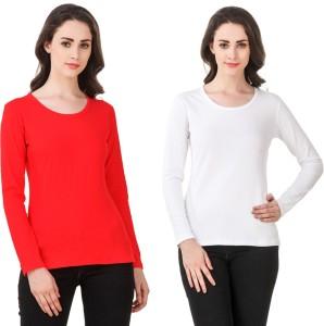 Clo Clu Solid Women Round Neck White, Red T-Shirt