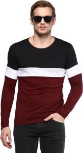 Urbano Fashion Striped Men Round Neck Black, White, Maroon T-Shirt