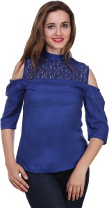 Myshka Casual 3/4th Sleeve Solid Women's Blue Top