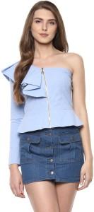 adbc6d9f8c2bd Woowzerz Casual Full Sleeve Solid Women Blue Top
