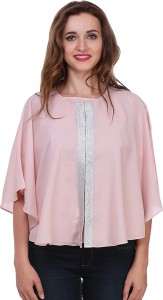 Myshka Casual 3/4th Sleeve Solid Women's Pink Top