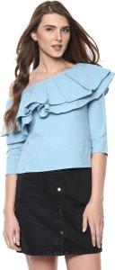 9e0278b741524 Woowzerz Casual 3 4th Sleeve Solid Women Blue Top