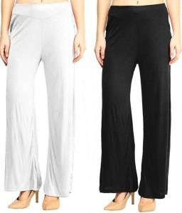 PI World Regular Fit Women's Black, White Trousers