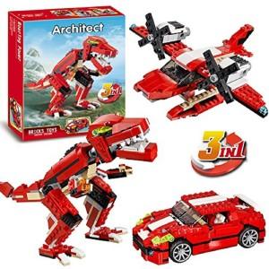 Montez Roaring Power 374 Pcs 3 In 1 Dinosaur Aircraft Car Triple Building Block Construction Set Toys