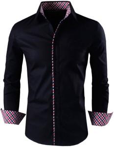 Zombom Men's Solid Casual Spread Shirt