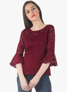 1c4403c21e4 FabAlley Casual Full Sleeve Solid Women Red Top