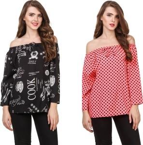 Delux Look Casual 3/4th Sleeve Printed Women Black Top