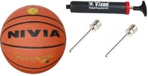 Nivia Combo of 3, True Orange Basketball Size-6, Vixen Pump,and Needle Basketball -   Size: 6
