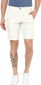 Leo Sansini Self Design Men White Basic Shorts